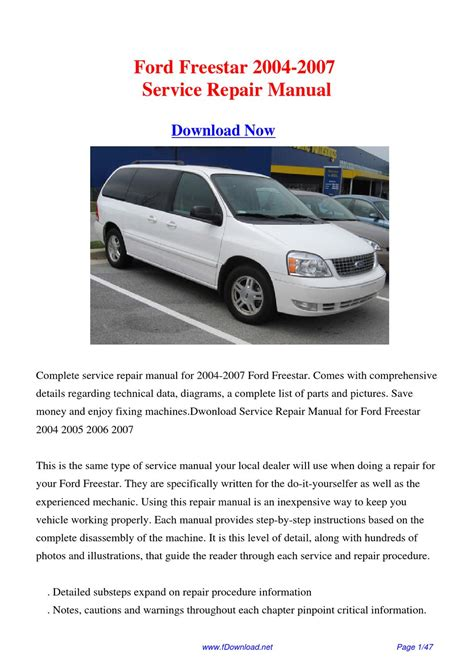 electric and cars manual 2006 ford freestar parental controls service manual pdf 2007 ford freestar engine repair manuals ford freestar 2005 2006 2007