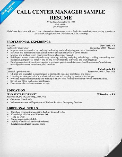 Sample Resume Objectives Of Call Center Agent by Call Center Manager Resume Sample Resumecompanion Com Resume Call Center Manager