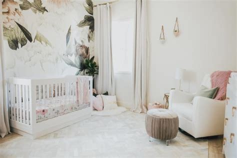 romantic girls nursery  floral accent wall