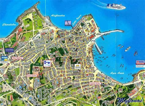mykonos map mykonos town map hora detailed map by sky map greece