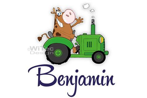 Lustige Traktor Aufkleber by T 252 Raufkleber Traktor Mit Kuh Bauernhof Kinderzimmer