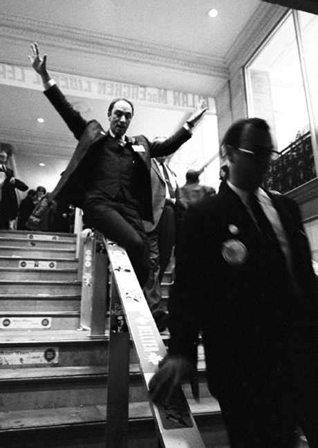 Dr Banister Trudeau Slides Down A Banister Iconic Photos
