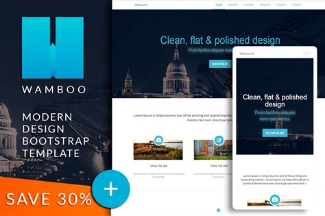 Wamboo Bootstrap Responsive Template Bootstrap Themes On Creative Market Modern Bootstrap Templates