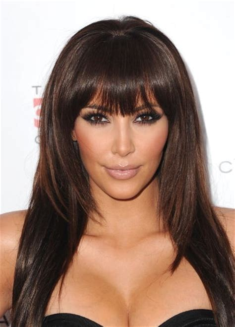 hairstyles bangs straight hair kim kardashian got a new straight bang haircut