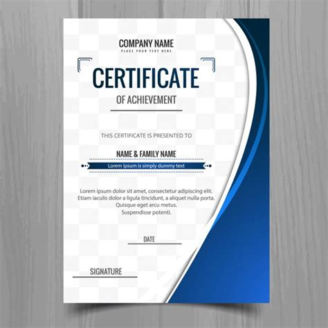 Blue Certificate Template blue wavy certificate template vector free