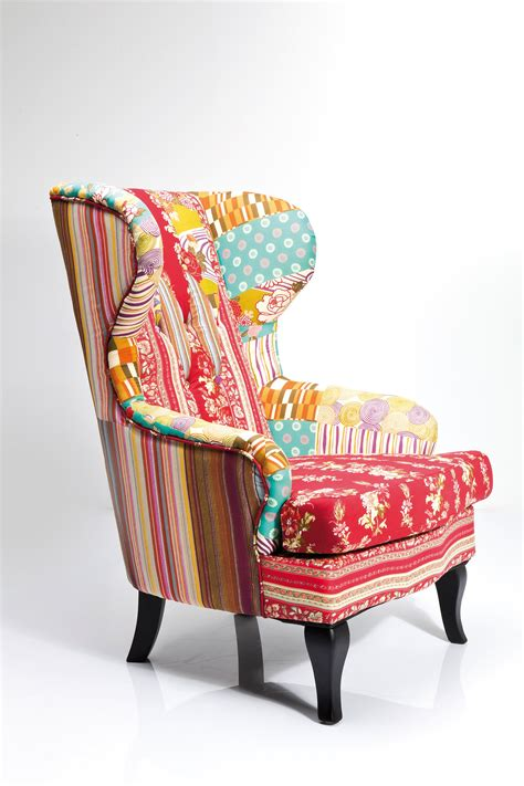 Patchwork Products - upholstered fabric armchair with armrests wing chair