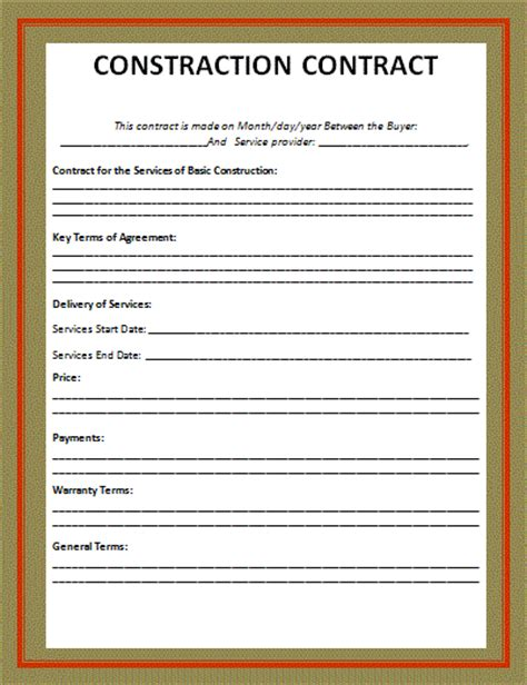 builder contract template building construction contract forms