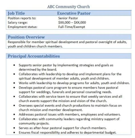 Sample Resume For Human Resources by 45 Free Downloadable Sample Church Job Descriptions