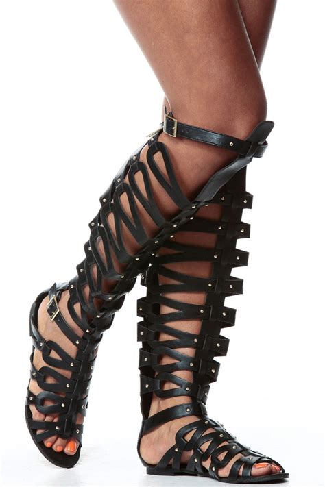 thigh high sandal boots black faux leather thigh high gladiator sandals cicihot