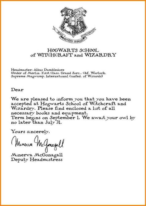 hogwarts acceptance letter quote templates harry