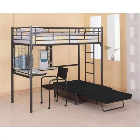 Loft Bed With Desk And Futon Coaster Max Futon Metal Bunk Bed With Desk In Black Finish 2209 2335m