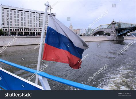 river boat flags russian flag on deck river boat stock photo 56284714