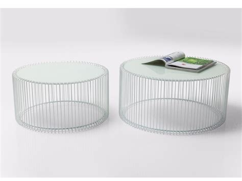 white wire glass and steel coffee table wire white by kare design