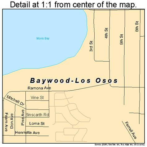 where is los osos california on a map baywood los osos california map 0604541