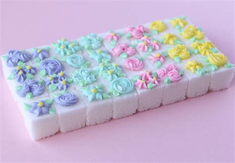 decorated sugar cubes with royal icing flowers