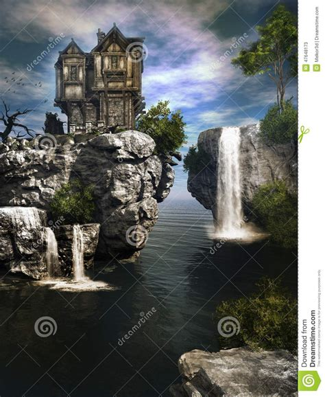 waterfall house the house over waterfall stock illustration illustration
