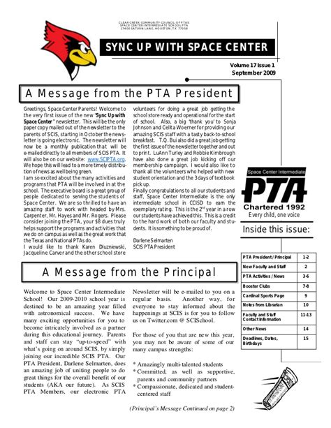 pta newsletter september 2009