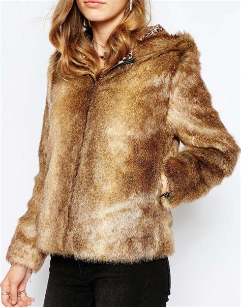 Bench Womens Hoodie Pepe Jeans Faux Fur Jacket With Hood In Brown Lyst
