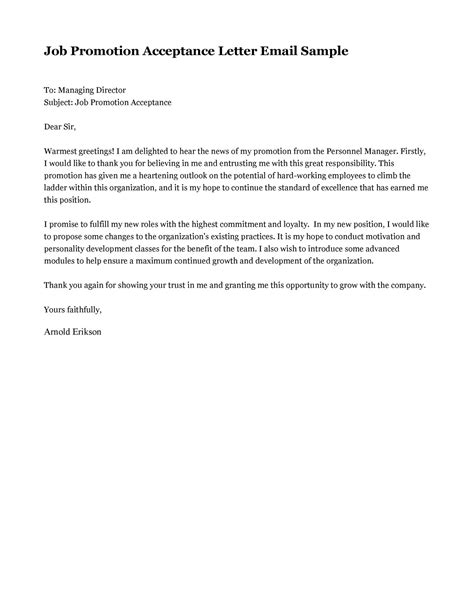 Acceptance Letter Promotion Sle Business Letter Offer Sle Business Letter