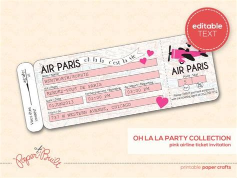 printable paper tickets printable paris party airline ticket invitation