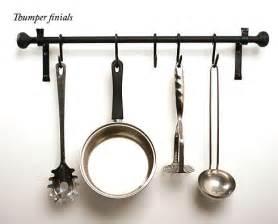 kitchen pan rail in wrought iron wall mount