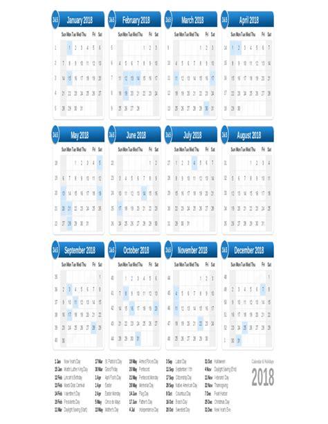 Calendar 2018 W Holidays 2018 Calendar On One Page Free