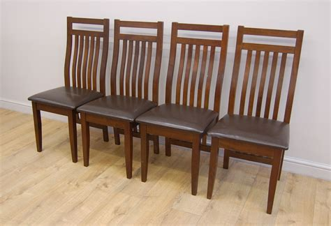 clearance 4 x java wooden dining chairs brown seat