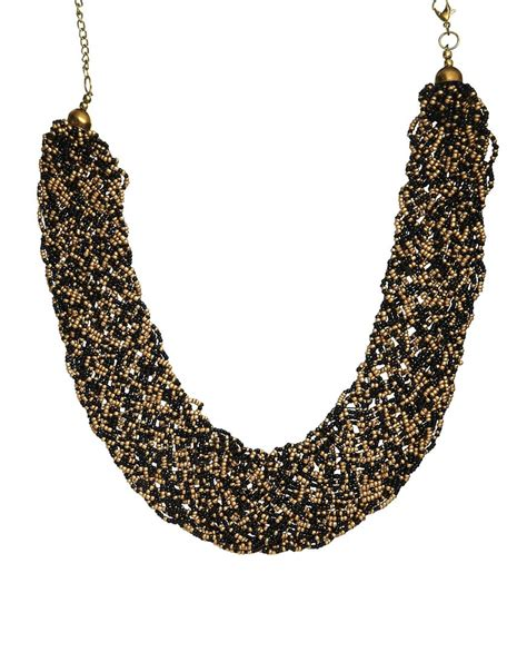 black bead earrings gold pull pull necklace with gold black in