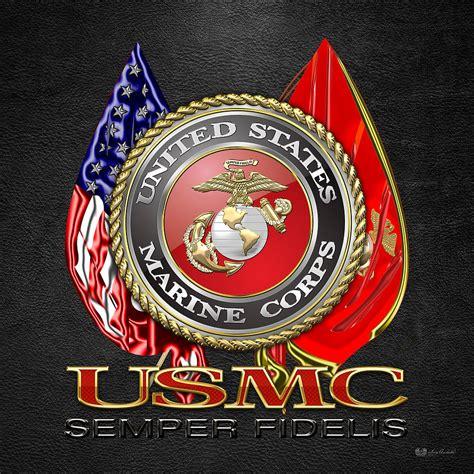 Usmc Marine Corps u s marine corps u s m c emblem on black digital by