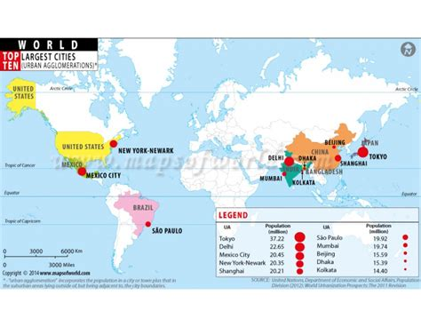 world city population map buy top ten populated cities of world highlighted on map