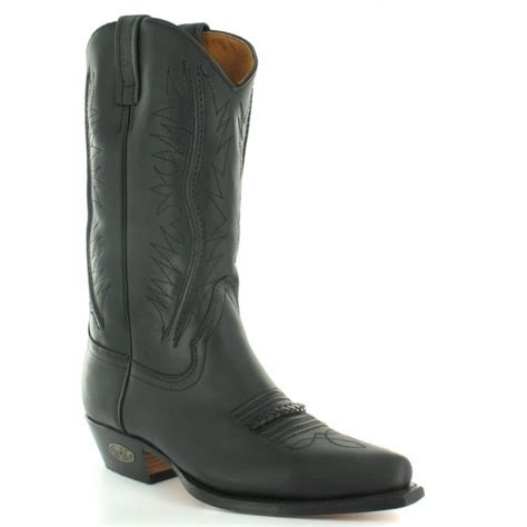 loblan 2616 mens leather western cowboy boots black