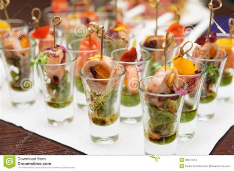 snack ideas for with cocktails various snacks in glasses stock photo image 39677874