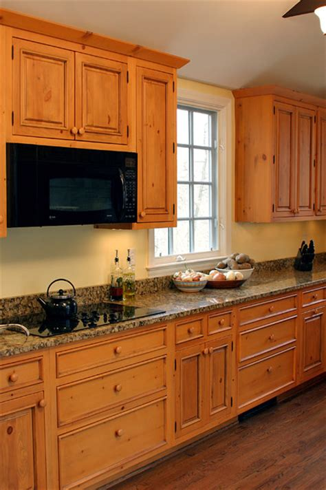 Kitchen Cabinets Pine Knotty Pine Cabinets Granite Counter Top Traditional Kitchen Dc Metro By Heritage