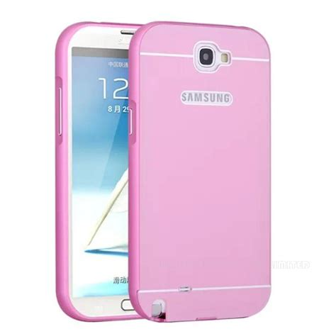 note 2 aluminum metal frame pc brush back cover mobile