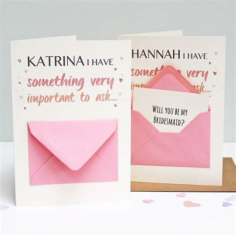 secret card messages will you be my bridesmaid secret message card by