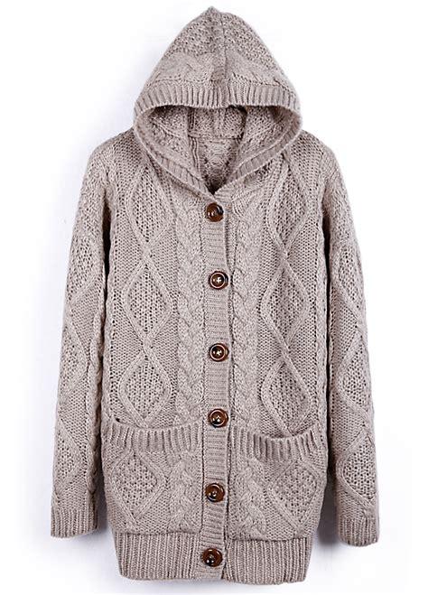 Jaket Sweater Cardigant apricot hooded sleeve cardigan sweater coat