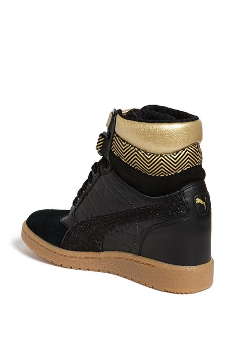 gold wedge sneaker sky wedge sneaker in gold black gold lyst