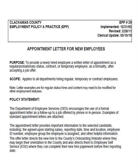 appointment letter for hospital staff appointment letter format