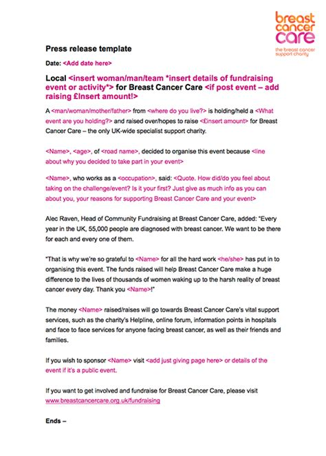uk press release template fundraising materials