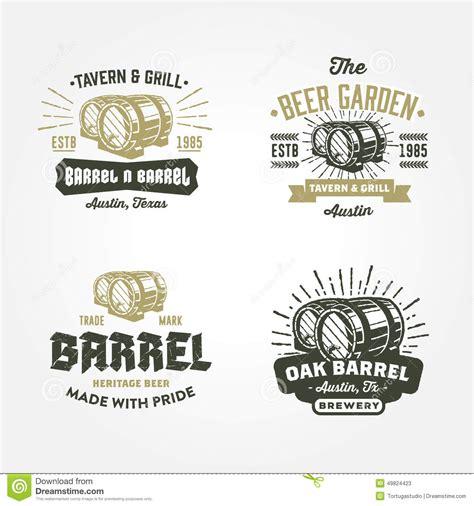 Set Of Retro Badge Logo Designs With Wodden Barrels Stock Vector Illustration Of Engraving Company Badge Template