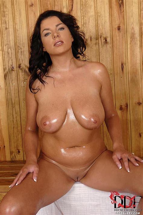 busty rye looks sweaty and sexy in the sauna   boobgoddess