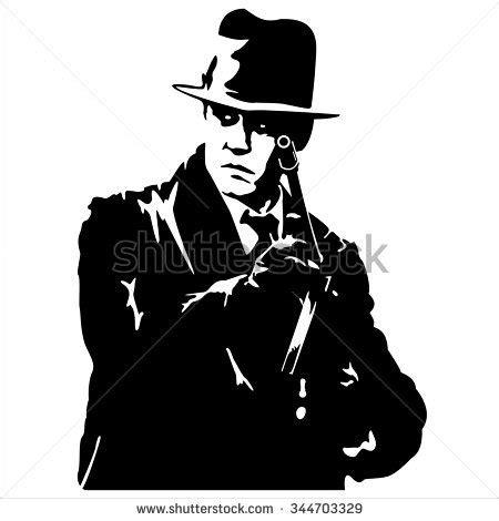 Hoodie Rebel Keren silhouette gangster gun on white stock vector