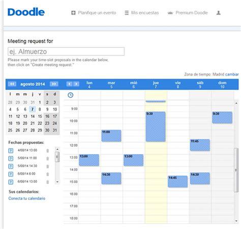 doodle crear calendario empiece a hacer horarios para mostrar su disponibilidad