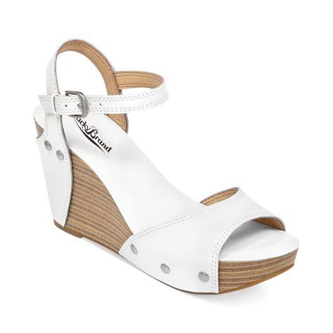 lucky brand womens marshaa platform wedge sandals in white