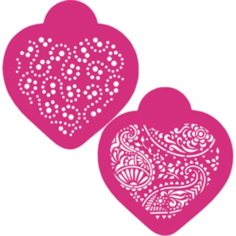 paisley hearts cookie stencils