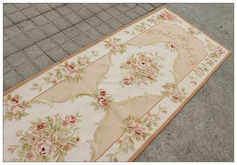 blue ivory w pink aubusson area rug free ship wool