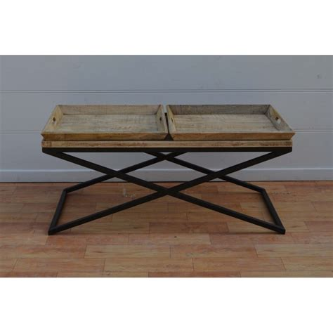wooden coffee table with removable trays blackbrook