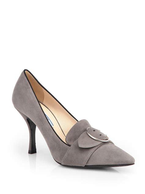 Prada Olympia Heels 9948 prada suede buckle pumps in gray grigio grey lyst