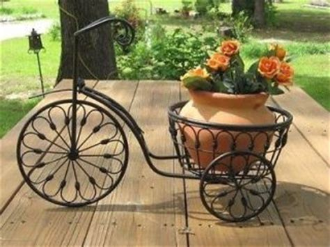 wrought iron bicycle plant stand garden patio flower pot