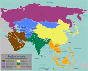 Asia On A Map by Learn All Asian Countries And Territories In Arabic Part